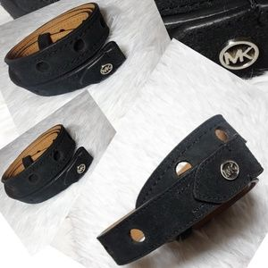 Michael Kors Circle Perforated Suede Leather Belt